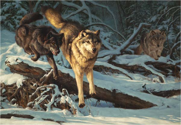 Wolves By Blue Lake Painting